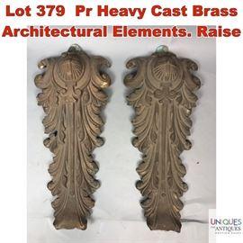 Lot 379 Pr Heavy Cast Brass Architectural Elements. Raise