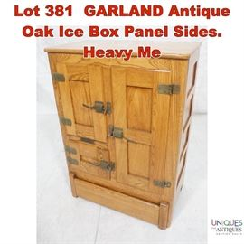 Lot 381 GARLAND Antique Oak Ice Box Panel Sides. Heavy Me