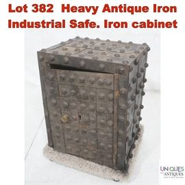 Lot 382 Heavy Antique Iron Industrial Safe. Iron cabinet