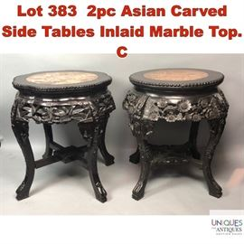 Lot 383 2pc Asian Carved Side Tables Inlaid Marble Top. C
