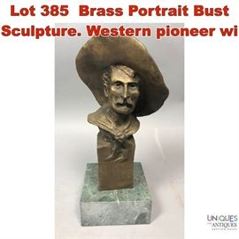 Lot 385 Brass Portrait Bust Sculpture. Western pioneer wi
