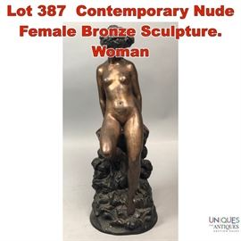 Lot 387 Contemporary Nude Female Bronze Sculpture. Woman