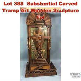 Lot 388 Substantial Carved Tramp Art Wooden Sculpture Fol