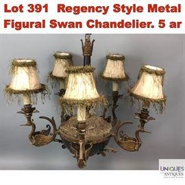 Lot 391 Regency Style Metal Figural Swan Chandelier. 5 ar