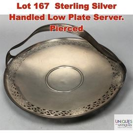Lot 167 Sterling Silver Handled Low Plate Server. Pierced