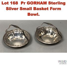 Lot 168 Pr GORHAM Sterling Silver Small Basket Form Bowl.