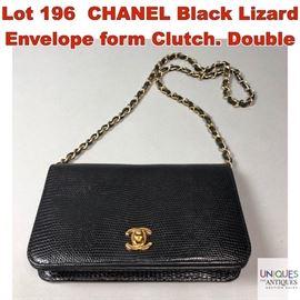 Lot 196 CHANEL Black Lizard Envelope form Clutch. Double