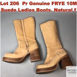 Lot 206 Pr Genuine FRYE 10M Suede Ladies Boots. Natural f