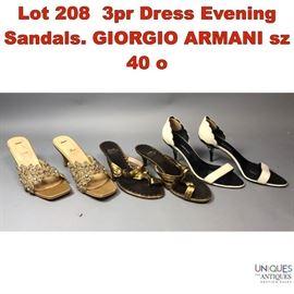 Lot 208 3pr Dress Evening Sandals. GIORGIO ARMANI sz 40 o