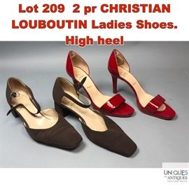 Lot 209 2 pr CHRISTIAN LOUBOUTIN Ladies Shoes. High heel