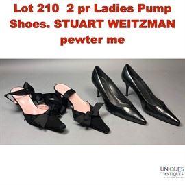 Lot 210 2 pr Ladies Pump Shoes. STUART WEITZMAN pewter me