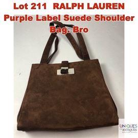 Lot 211 RALPH LAUREN Purple Label Suede Shoulder Bag. Bro
