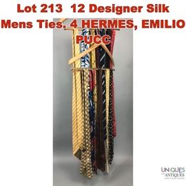 Lot 213 12 Designer Silk Mens Ties. 4 HERMES, EMILIO PUCC