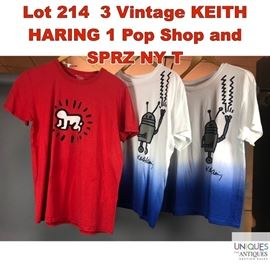 Lot 214 3 Vintage KEITH HARING 1 Pop Shop and SPRZ NY T