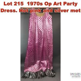 Lot 215 1970s Op Art Party Dress. Hot pink and silver met