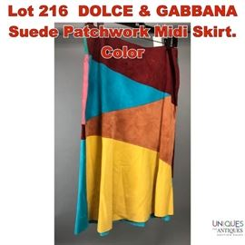Lot 216 DOLCE  GABBANA Suede Patchwork Midi Skirt. Color