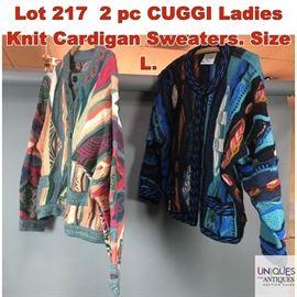 Lot 217 2 pc CUGGI Ladies Knit Cardigan Sweaters. Size L.