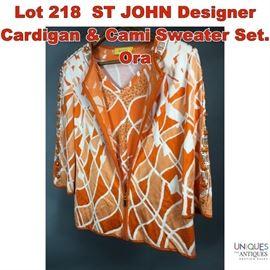 Lot 218 ST JOHN Designer Cardigan  Cami Sweater Set. Ora