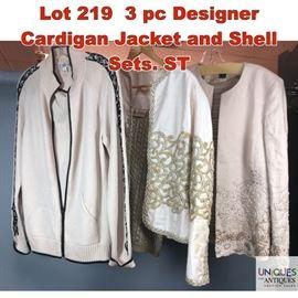 Lot 219 3 pc Designer Cardigan Jacket and Shell Sets. ST