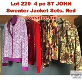 Lot 220 4 pc ST JOHN Sweater Jacket Sets. Red sweater kni