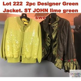 Lot 222 2pc Designer Green Jacket. ST JOHN lime green swe