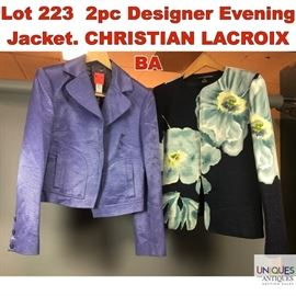 Lot 223 2pc Designer Evening Jacket. CHRISTIAN LACROIX BA