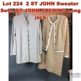 Lot 224 2 ST JOHN Sweater Sets. ST JOHN EVENING Long jack