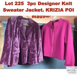 Lot 225 3pc Designer Knit Sweater Jacket. KRIZIA POI mauv