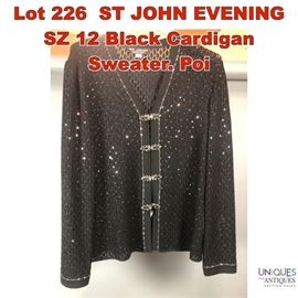 Lot 226 ST JOHN EVENING SZ 12 Black Cardigan Sweater. Poi