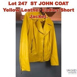 Lot 247 ST JOHN COAT Yellow Leather Ladies Short Jacket.