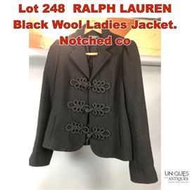 Lot 248 RALPH LAUREN Black Wool Ladies Jacket. Notched co