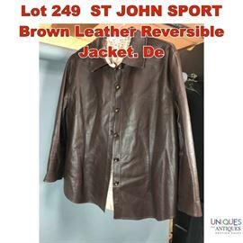 Lot 249 ST JOHN SPORT Brown Leather Reversible Jacket. De