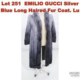 Lot 251 EMILIO GUCCI Silver Blue Long Haired Fur Coat. Lu