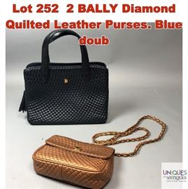 Lot 252 2 BALLY Diamond Quilted Leather Purses. Blue doub