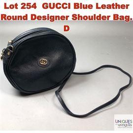 Lot 254 GUCCI Blue Leather Round Designer Shoulder Bag. D