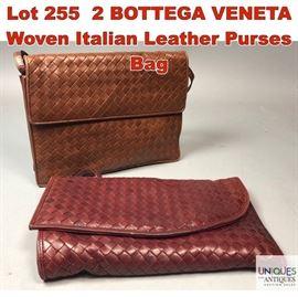 Lot 255 2 BOTTEGA VENETA Woven Italian Leather Purses Bag