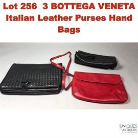 Lot 256 3 BOTTEGA VENETA Italian Leather Purses Hand Bags