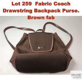 Lot 259 Fabric Coach Drawstring Backpack Purse. Brown fab