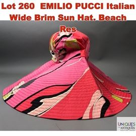 Lot 260 EMILIO PUCCI Italian Wide Brim Sun Hat. Beach Res