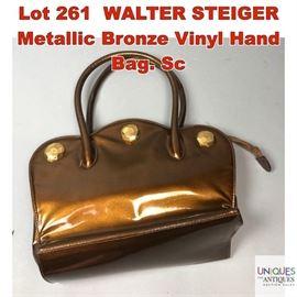 Lot 261 WALTER STEIGER Metallic Bronze Vinyl Hand Bag. Sc