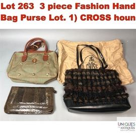 Lot 263 3 piece Fashion Hand Bag Purse Lot. 1 CROSS houn