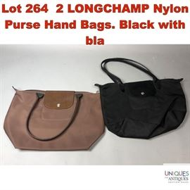 Lot 264 2 LONGCHAMP Nylon Purse Hand Bags. Black with bla