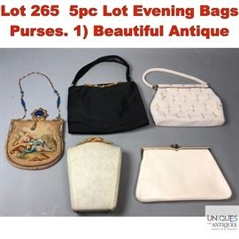 Lot 265 5pc Lot Evening Bags Purses. 1 Beautiful Antique