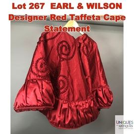 Lot 267 EARL  WILSON Designer Red Taffeta Cape Statement