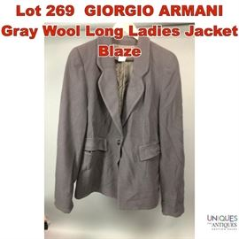 Lot 269 GIORGIO ARMANI Gray Wool Long Ladies Jacket Blaze