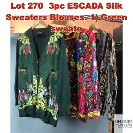 Lot 270 3pc ESCADA Silk Sweaters Blouses. 1 Green sweate
