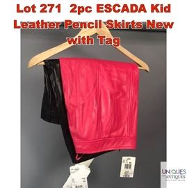 Lot 271 2pc ESCADA Kid Leather Pencil Skirts New with Tag