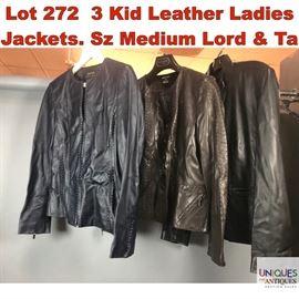 Lot 272 3 Kid Leather Ladies Jackets. Sz Medium Lord  Ta