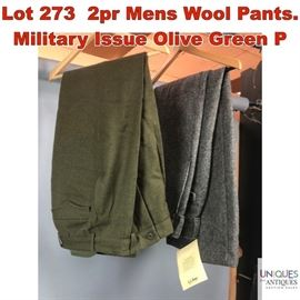Lot 273 2pr Mens Wool Pants. Military Issue Olive Green P