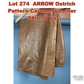 Lot 274 ARROW Ostrich Pattern Caramel Leather Skirt. V yo